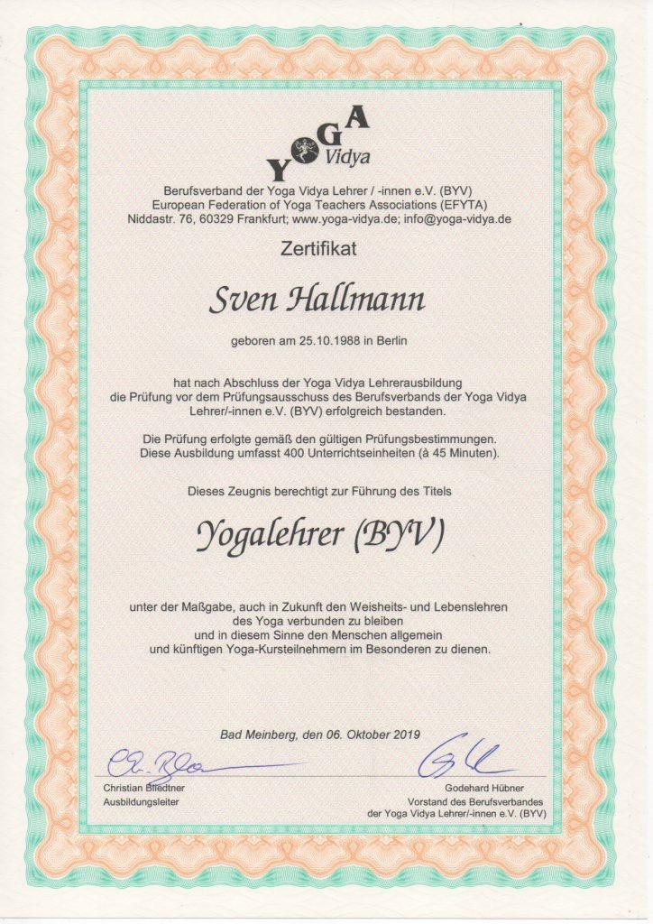 Zertifikat Yogalehrer BYV Sven Hallmann